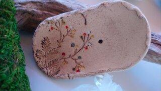 Seifenschale oval mit Blütendekor