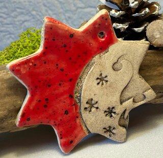 Großer Keramik  Stern in rot