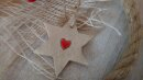 Großer Keramik  Stern mit Herz
