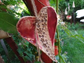 Großes Keramik-Herz mit Blümchen