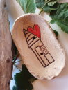 Keramik Seifenschale oval  mit Haus & Herz