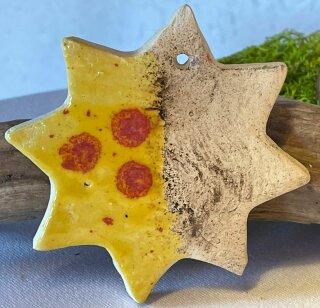 Großer Keramik  Stern mit gelb